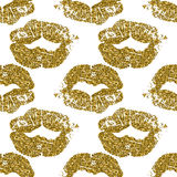 Seamless pattern with gold glitter lips prints on white background. Stock Image