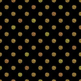 Seamless pattern with gold glitter polka dot ornament on black background Stock Photo