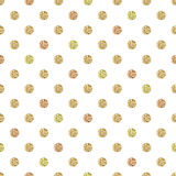 Seamless pattern with gold glitter polka dot ornament on white background Stock Photos