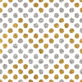Seamless pattern of gold glitter and silver chevron  circle Stock Photography