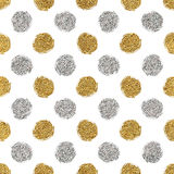 Seamless pattern of gold glitter and silver polka dots Stock Photography