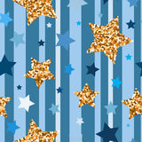 Seamless pattern with gold glitter stars Stock Photo