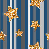 Seamless pattern with gold glitter stars Royalty Free Stock Images