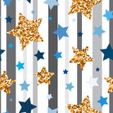 Seamless pattern with gold glitter stars Stock Photos