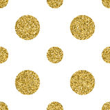 Seamless pattern with gold glitter textured circle on the white background.  Royalty Free Stock Photos