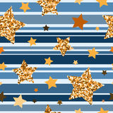 Seamless pattern with gold glitter textured stars. Seamless pattern gold glitter textured stars Stock Image