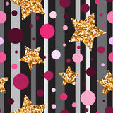 Seamless pattern with gold glitter textured stars and pink circl Stock Image