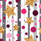 Seamless pattern with gold glitter textured stars and pink circl Royalty Free Stock Image