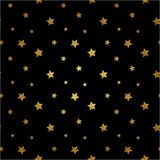 Seamless pattern with gold glitter textured stars. Vector. Background Royalty Free Stock Image