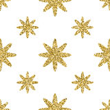 Seamless pattern with gold glitter textured stars on the white background.  Royalty Free Stock Photo