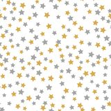 Seamless pattern gold gray stars on white Background with Merry Christmass. Golden Gray stars. Background for your Christmas and royalty free illustration