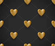 Seamless pattern with gold hearts on a black background for Valentine's Day. Royalty Free Stock Image