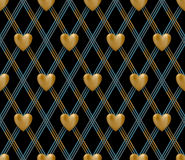Seamless pattern with gold hearts on a black background for Valentine's Day. Vector Illustration. Stock Images