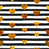 Seamless pattern of gold hearts. On black and white striped background. Pattern for Valentines day or wedding background, festive banner, invitation, postcard Stock Photos