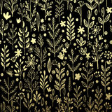 Seamless pattern with gold leaf and grass. Vector Royalty Free Stock Photo