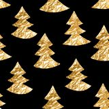 Seamless pattern with gold leaf textured spruces on the black background Royalty Free Stock Images