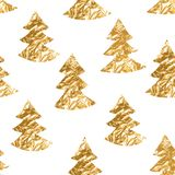Seamless pattern with gold leaf textured spruces on the white background.  Royalty Free Stock Images