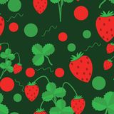 Seamless pattern of green leaves and strawberries  vector illustration