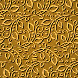 Seamless pattern gold leaves. Elegant  texture for wallpapers, backgrounds and page fill. 3D elements with shadows and highlights. Royalty Free Stock Photo