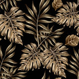 Seamless pattern of gold leaves and flowers Royalty Free Stock Photo