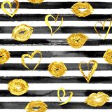 Seamless pattern with gold lips kisses and hearts stock images