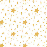 Seamless pattern with gold magic wand on a white background. Stock Photo