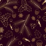 Seamless pattern Gold ornament on a brown background  Merry Christmas and Happy New Yea 48