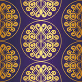 Seamless pattern. gold ornament on purple background Stock Image