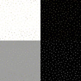 Seamless pattern with gold painted dots on the white, gray, black backgrounds Stock Image