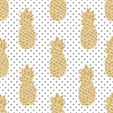 Seamless pattern with gold pineapples. On polkadot background. Black white and gold pineapple pattern. Summer tropical background. Illustration painting Royalty Free Stock Photos