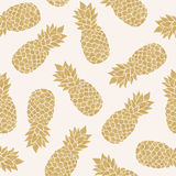Seamless pattern with gold pineapples. Summer tropical background Stock Photography
