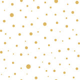 Seamless pattern with gold polka dots texture on white Stock Images