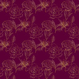 Seamless pattern with gold roses. Seamless pattern with gently golden roses on the dark crimson background. (Can be repeated and scaled in any size Royalty Free Stock Photo