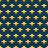 Seamless pattern with a gold royal lily called a fleur-de-lis on a dark background. Vector heraldic ornament. Usable for Stock Image