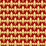 Seamless pattern with a gold royal lily called a fleur-de-lis on a red claret background. Vector heraldic ornament Royalty Free Stock Photography