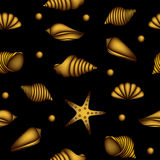 Seamless pattern with gold shells Stock Image