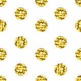 Seamless pattern with gold shine glitter dots on white background. Royalty Free Stock Photo