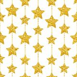 Seamless pattern with gold shine glitter stars on white background. Royalty Free Stock Photo