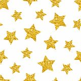 Seamless pattern with gold shine glitter stars on white background. Royalty Free Stock Photography