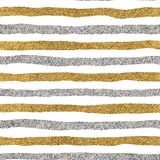 Seamless pattern of gold and silver lines. Seamless background grunge golden and silver stripes, hand drawn vector pattern for textile, wallpaper, web Royalty Free Stock Photography