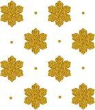 Seamless pattern with gold snowflakes and dots. On white background. Vector illustration Royalty Free Stock Images