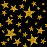Seamless pattern with gold stars on black background. Stock Photos