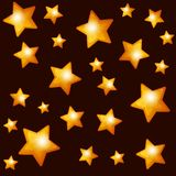 Seamless Pattern with Gold Stars on Dark Stock Photo
