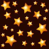 Seamless Pattern with Gold Stars on Dark Stock Photo