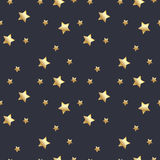 Seamless pattern with gold stars on dark grey background. Vector illustration. Royalty Free Stock Photos