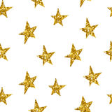 Seamless pattern with gold stars. Vector illustration. Royalty Free Stock Photo
