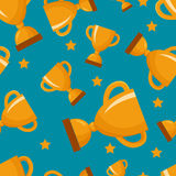 Seamless pattern with gold winners cup Royalty Free Stock Image