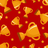 Seamless pattern with gold winners cup Stock Photo