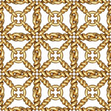 Seamless pattern of gold wire mesh or fence on white Vector Illustration