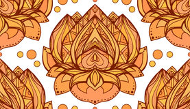 Seamless pattern with gold yellow lotus. Royalty Free Stock Photos